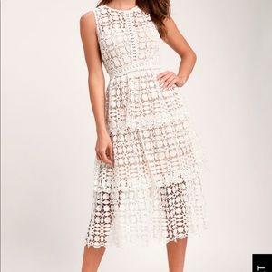 Lulu's Larissa White Crochet Midi Dress